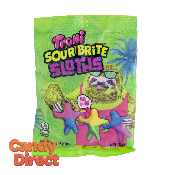 Trolli Sloths Sour Brite 4.5oz Peg Bag - 12ct