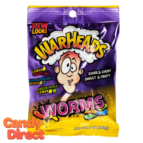 Warheads Sour Worms Peg Bags - 12ct