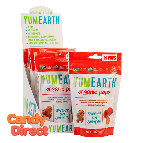 Yumearth Lollipops Organic 3oz Pouch - 6ct