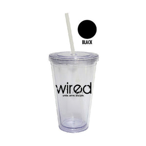 Double-Wall Plastic Tumblers with Straws