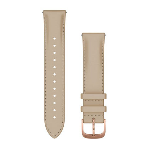 Garmin Quick Release 20 - Light Sand/Rose Gold Italian Leather Band