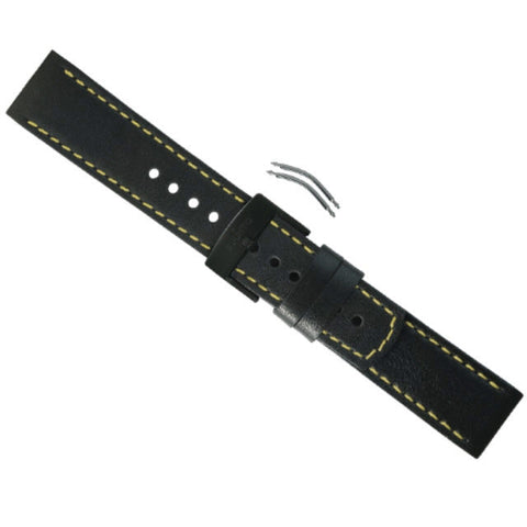 Suunto Elementum Terra - Black / Yellow Leather Replacement Band