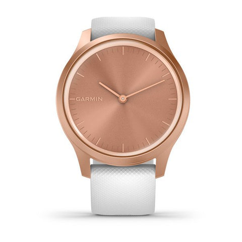 Garmin vivomove Style - Rose Gold Case With White with Silicone Band