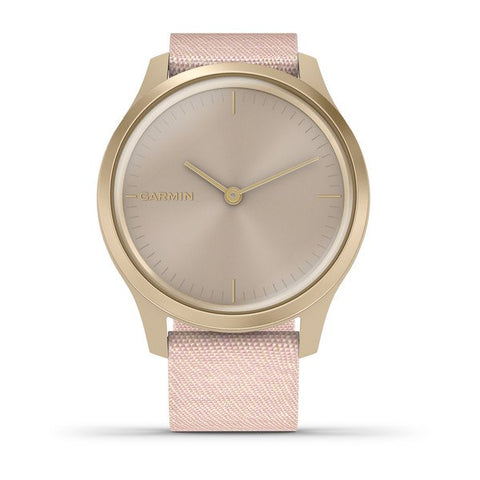 Garmin vivomove Style - Light Gold Case with Blush Pink Woven Nylon Band