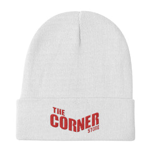 The Corner Store (Red/White) Logo Embroidered Beanie