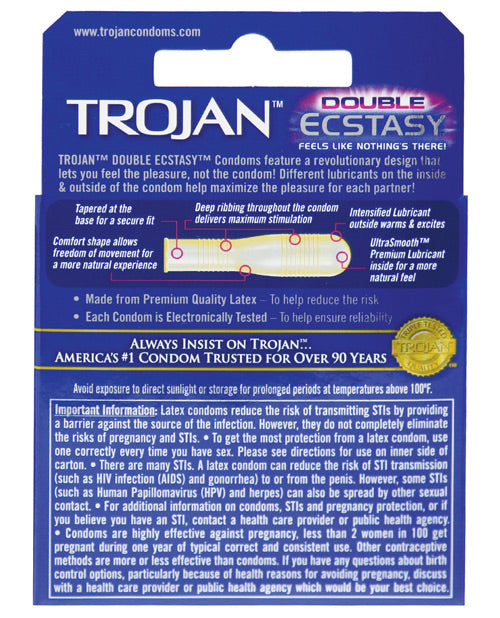 Trojan Double Ecstasy Condom - Box Of 3