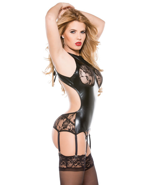 Kitten Lace & Wet Look Corset Top W-attachable Garters Black O-s