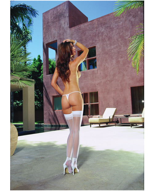 Sheer Thigh Highs W-back Seam White O-s