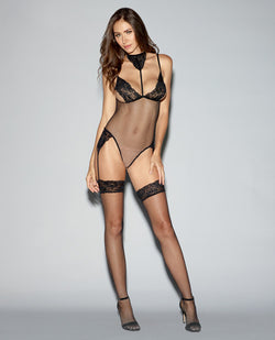 Lace Trimmed Fishnet Teddy Bodystocking W-adjustable Straps, Thgh Hghs & Attchd Grtrs Black O-s