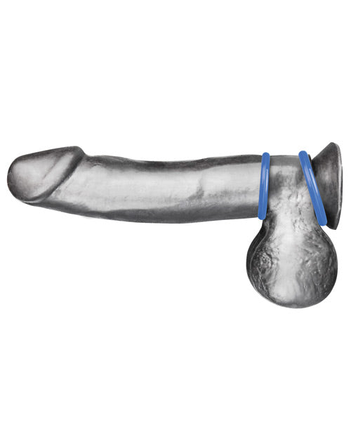 Blue Line C&b Silicone Cock Ring Set - Blue