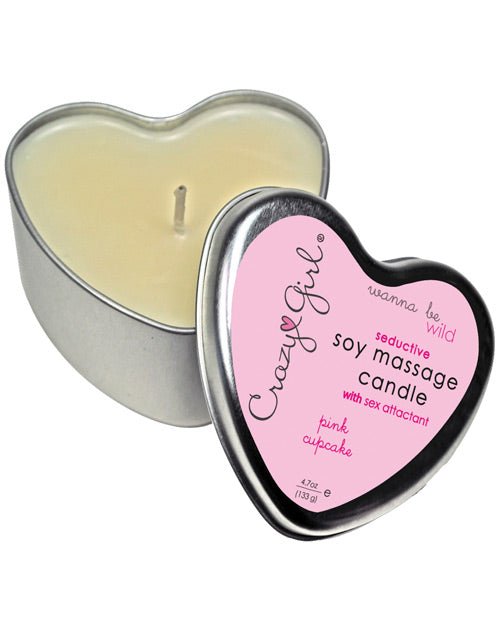 Crazy Girl Soy Massage Heart Candle - 4 Oz Pink Cupcake