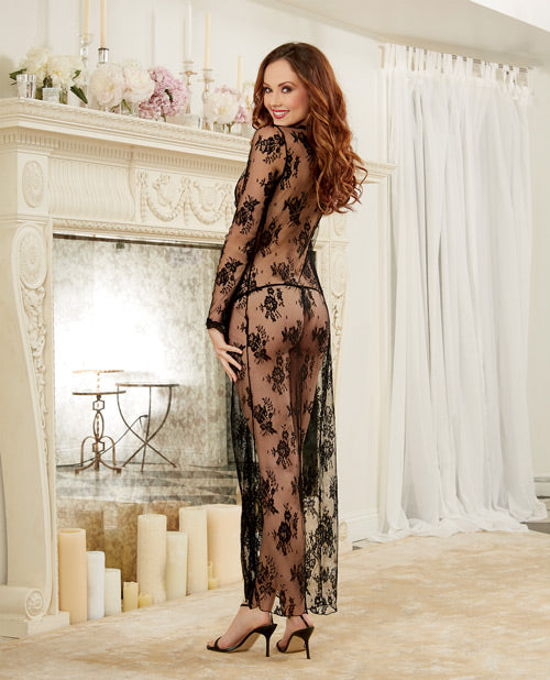 Delicate Lace Open Front Gown & G-string Black Lg