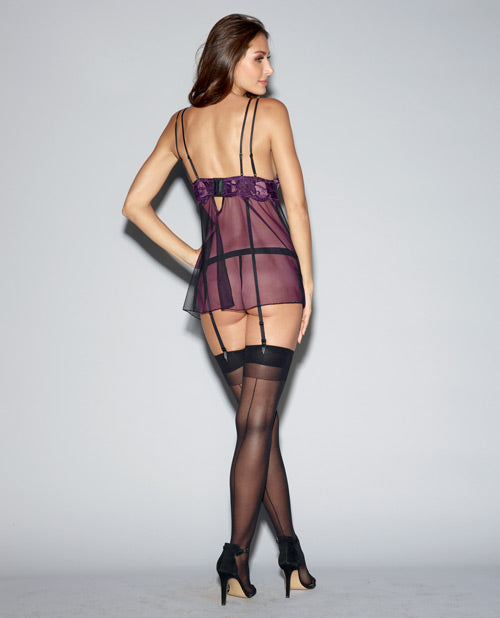 Sheer Mesh Babydoll, Remvable-adjstble Grters Attched To Bra & G-string Plum-black Lg Mfg Out Stock