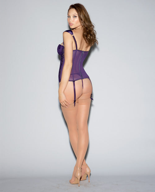 Lace Bustier & Mesh W-partial Satin Lining, Boning, Adjustable-removable Gartrs Deep Purple 32