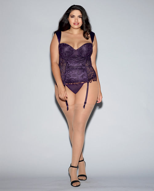 Lace Bustier & Mesh W-partial Satin Lining, Boning, Adjustable-removable Gartrs Deep Purple 40