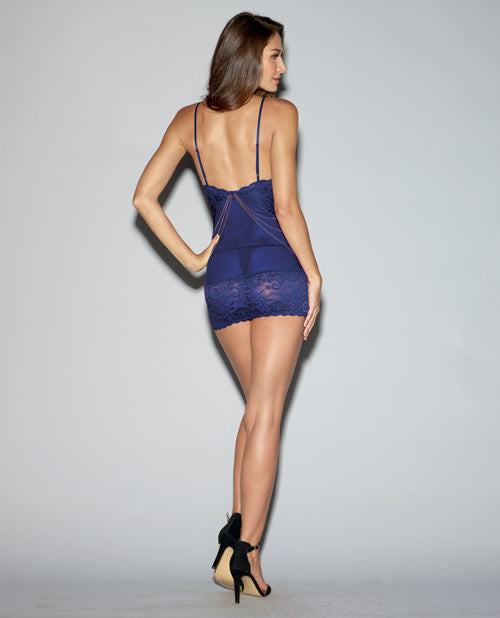 Strech Lace & Mesh Chemise W-adjustable Shoulder Straps & Thongs Midnight Blue Lg