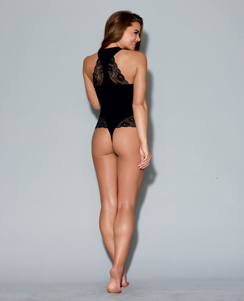 Spandex Jersey Racerback Bodysuit & Thong Back W-snap Crotch Black Md