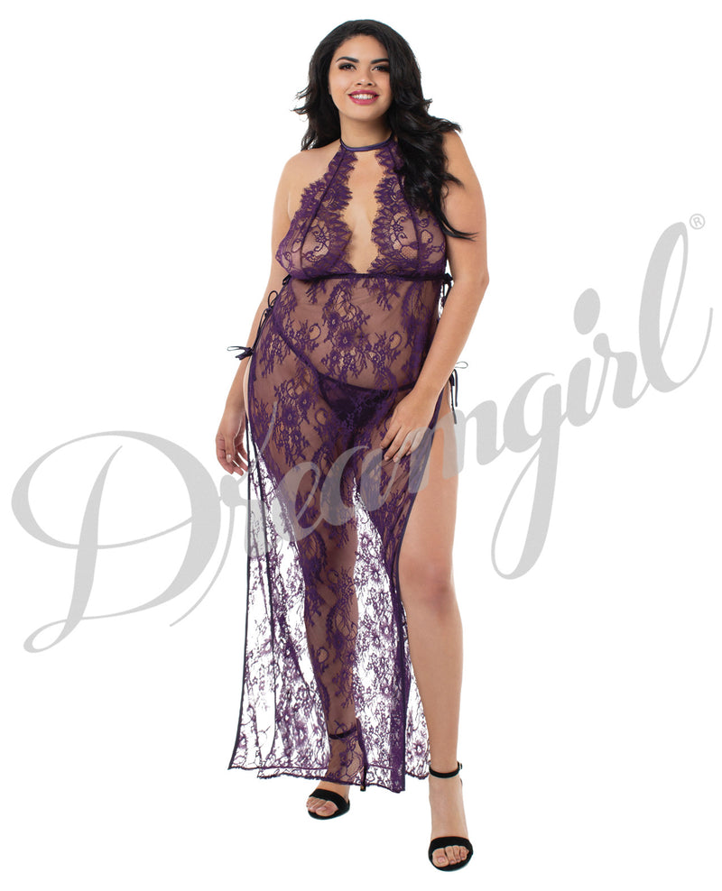 Toga Style Lace Gown W-adjstble Satin Straps, Halter Cups & G-string Plum 2x