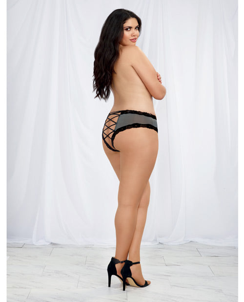 Microfiber Cheeky Panty W-criss Cross Open Back Detail Slate-black 1x