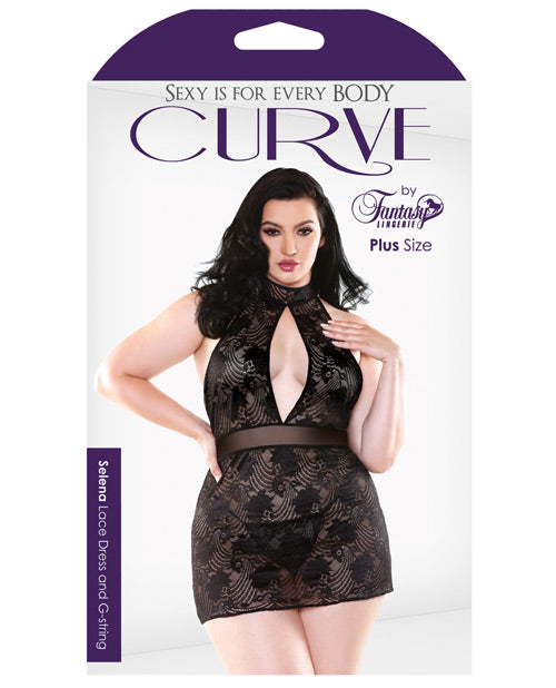 Curve Selena High Neck Floral Lace Dress W-g-string Black 3x-4x