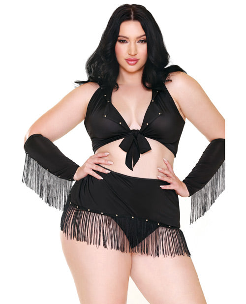 Curve Sassy In The Saddle Collared Top, Skirt, Cuffs, Skirt & Panty Black-white 3x-4x