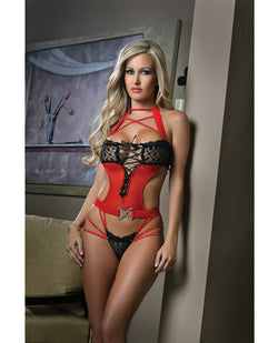 Cut Out Teddy W-dazzling Straps & Contrasting Lace Black-red O-s