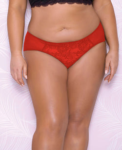 Scallop Lace & Mesh Hipster Panty Red 1x