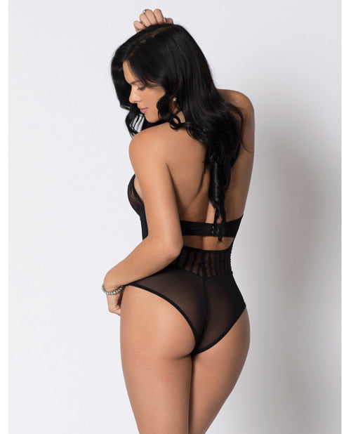 Halter Striped Mesh & Lace Teddy W-underwire Lace, Velvet Waistband & Lace Trim Black Md