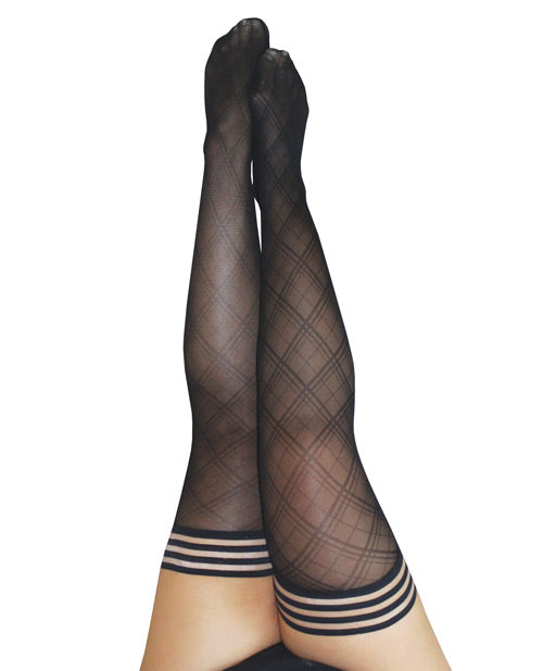 Kix'ies Tiffany Diamond Thigh High Black D