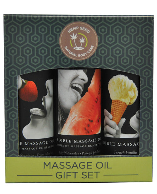 Earthly Body Edible Massage Oil Gift Set - 2 Oz Watermelon, Strawberry & Vanilla
