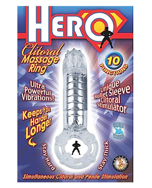 Hero Clitoral Massage Ring Cock Ring - Clear