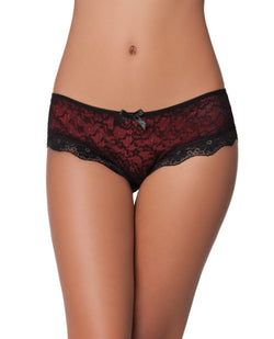 Cage Back Lace Panty Black-red X-l