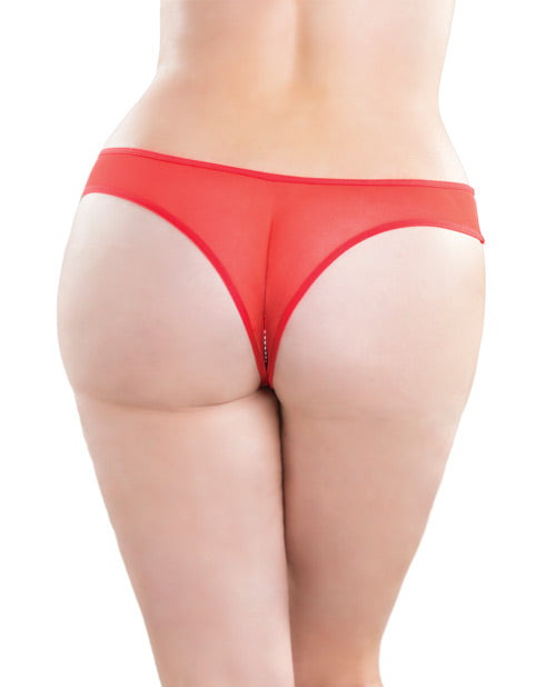 Crotchless Thong W-pearls Red 3x-4x