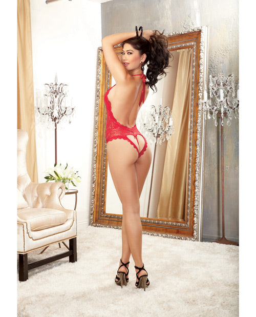 Halter Stretch Lace Teddy W-plunging Neckline, Halter Ties & Heart Cut Out On Back Red O-s