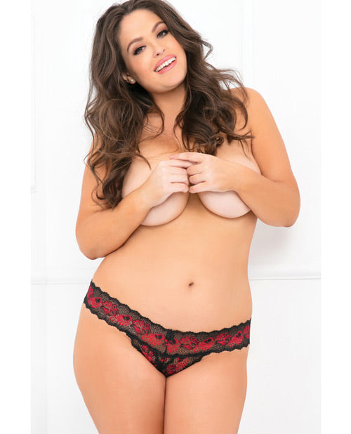 Rene Rofe Crotchless Lace V-thong Red-black 1x-2x