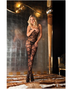 Rene Rofe Strapped Up Sheer Bodystocking Black O-s