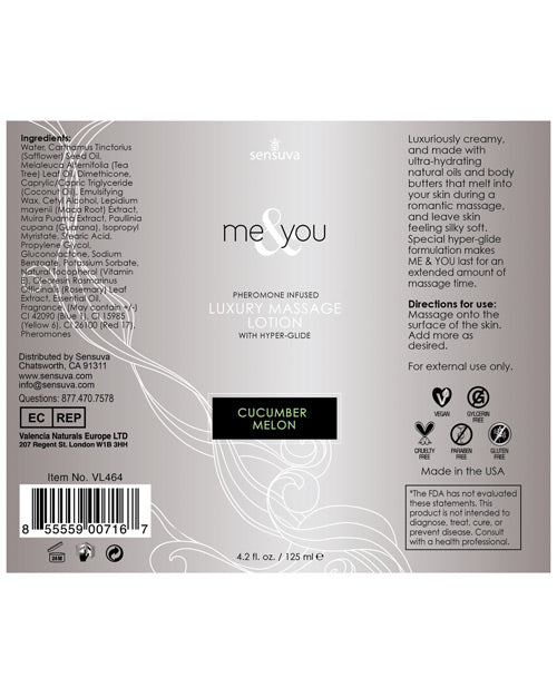 Sensuva Me & You Massage Lotion - Cucumber Melon