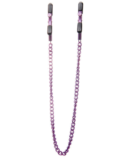 Shots Ouch Adjustable Nipple Clamps W-chain - Purple