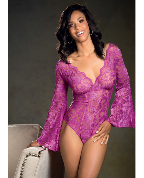 Stretch Lace Bodysuit W-long Bell Sleeves Magenta 1x