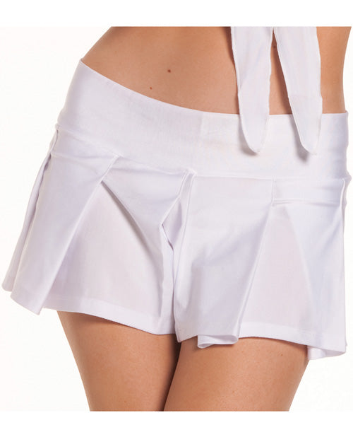 Solid Color Pleated School Girl Skirt White S-m