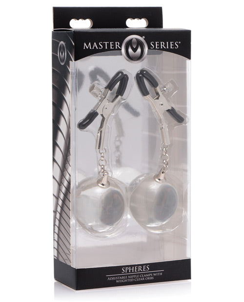 Master Series Spheres Adjustable Nipple Clamps & Weighted Clear Orbs