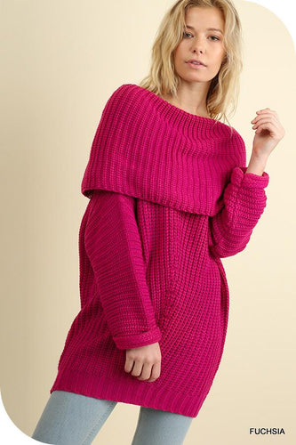 UMGEE FUCHSIA FOLD OVER SWEATER-TOPS-Lulu-Bela