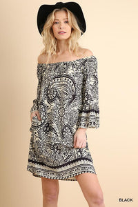 UMGEE PAISLEY BLACK DRESS-DRESSES-Lulu-Bela