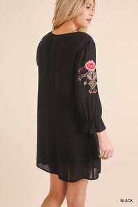UMGEE BLACK EMBROIDERED DRESS