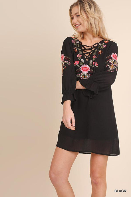 UMGEE BLACK EMBROIDERED DRESS-DRESSES-Lulu-Bela