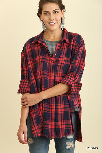 UMGEE PLAID BUTTON UP WITH FRAYED HEM-TOPS-Lulu-Bela