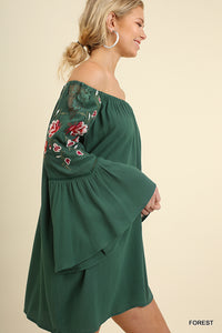 UMGEE OFF SHOULDER EMB DRESS - FOREST