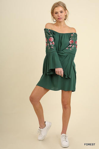 UMGEE OFF SHOULDER EMB DRESS - FOREST-DRESSES-Lulu-Bela