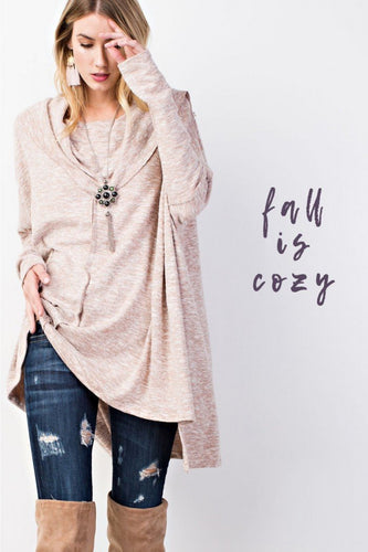 ULTRA SOFT COWL NECK OPTIONAL OFF SHOULDER KNIT TUNIC-TOPS-Lulu-Bela