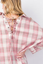 EASEL LACE UP FRONT AND BACK PLAID TUNIC SHIRT